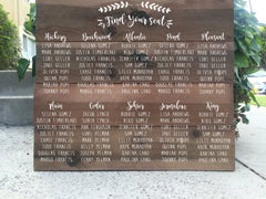 Seating Chart Wedding Sign - Rustic Wedding Board Sign Wooden Sig - Heart And Hand