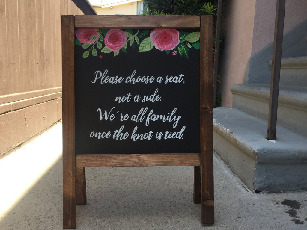 Please Choose A Seat Not A Side - Rustic Wooden Wedding Seating Sandwich Board | Wedding Easel Sign - Heart And Hand