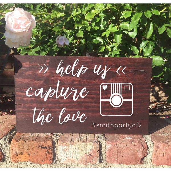 Rustic Wedding Sign - Hashtag Social Media Help Us Capture The Love Wedding Sign - Heart And Hand