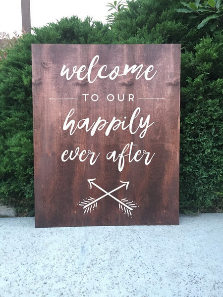 Rustic Wedding Sign - Welcome To Our Happily Ever After Wedding Sign Wooden Board - Heart And Hand