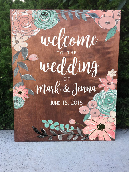 Copy of Rustic Wedding Sign - Welcome Wedding Sign Wooden Board