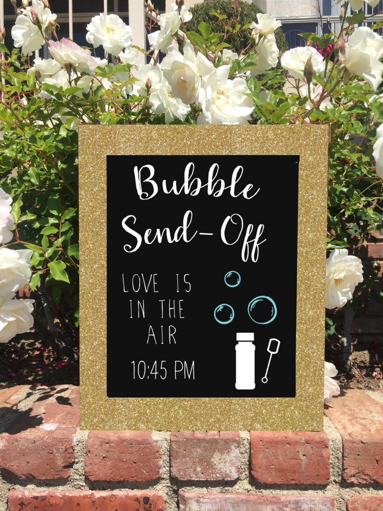 Bubble Send Off - Rustic Wedding Sign Gold Glitter Framed Chalkboard - Heart And Hand