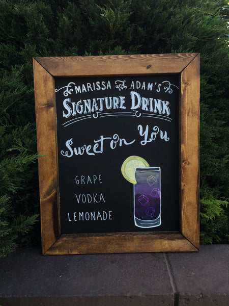 Signature Drink Rustic Wedding Sign - Framed Chalkboard Wedding Bar Sign - Heart And Hand