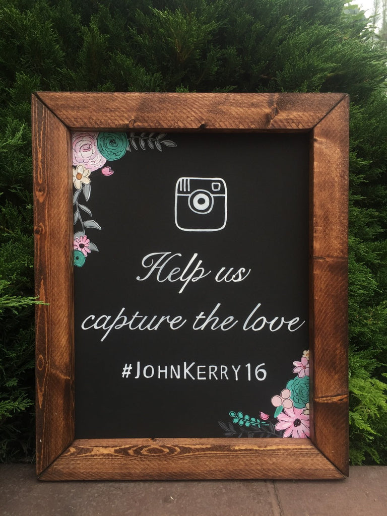 Rustic Wedding Sign - Help Us Capture The Love Social Media Hashtag Framed Rose Gold Chalkboard Sign - Heart And Hand