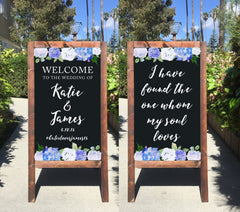 Welcome Wedding Sign - I Have Found The One Whom My Soul Loves Bible Verse Rustic Wedding Chalkboard Sandwich Board - Heart And Hand