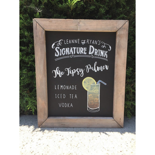 Signature Drink - Rustic Wedding Framed Chalkboard Sign Wedding Bar Sign