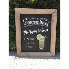 Signature Drink - Rustic Wedding Framed Chalkboard Sign Wedding Bar Sign - Heart And Hand