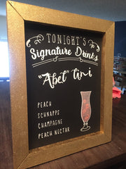 Rustic Wedding Signs Package - 3 Framed Chalkboards - Signature Drink Bar Sign, Sparkler Send Off, Custom Gold Glitter Frame - Heart And Hand