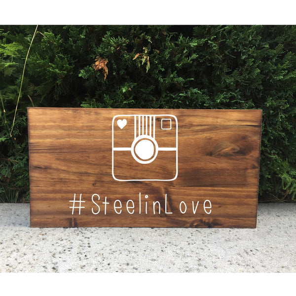 Rustic Wedding Sign - Hashtag Social Media Wedding Sign - Heart And Hand