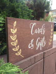Cards And Gifts Sign Rustic Wooden Stand Alone Sign - Heart And Hand