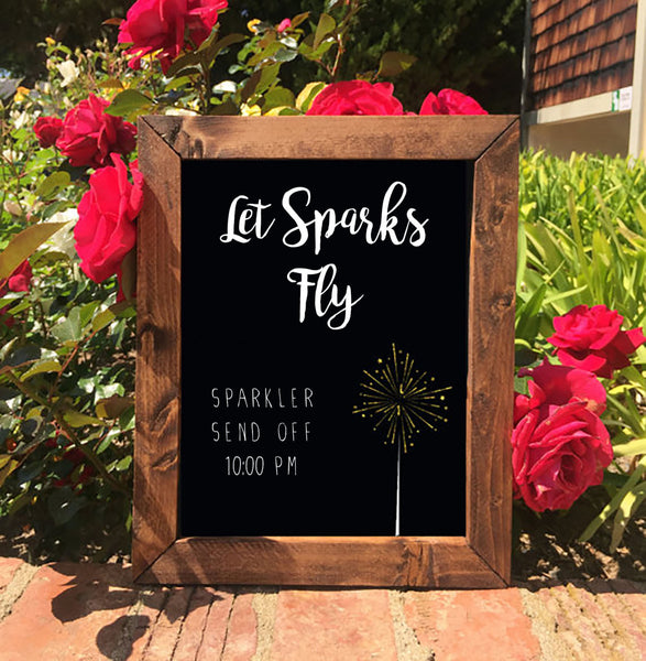 Sparkler Send Off Let Sparks Fly - Rustic Wedding Sign Framed Chalkboard - Heart And Hand