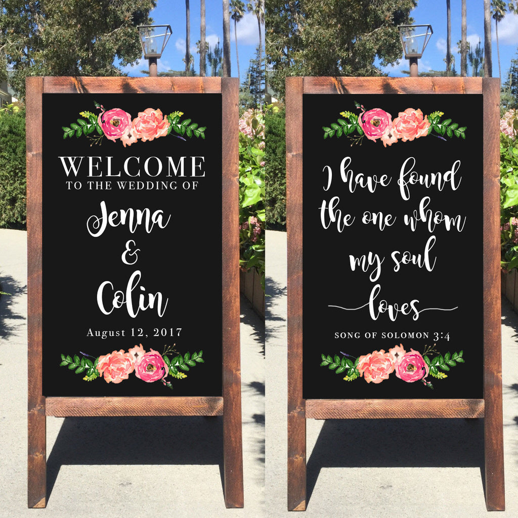 Welcome Wedding Sign - Rustic Wedding Double Sided Chalkboard Sandwich Board | Wedding Easel Sign - Heart And Hand