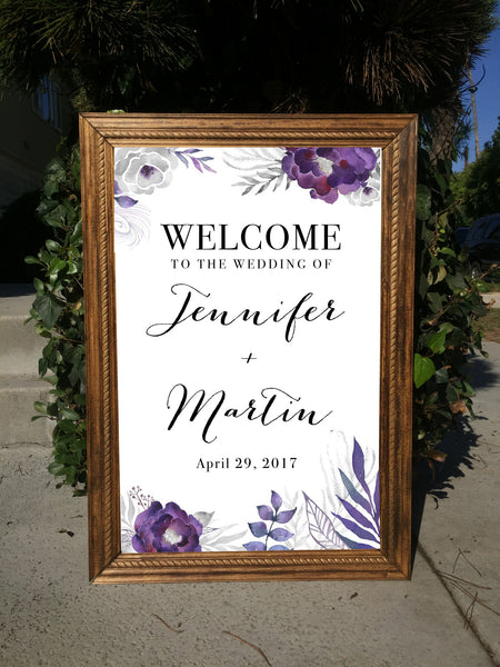 Welcome Wedding Sign - Rustic Wedding Framed Sign Purple Flowers - Heart And Hand