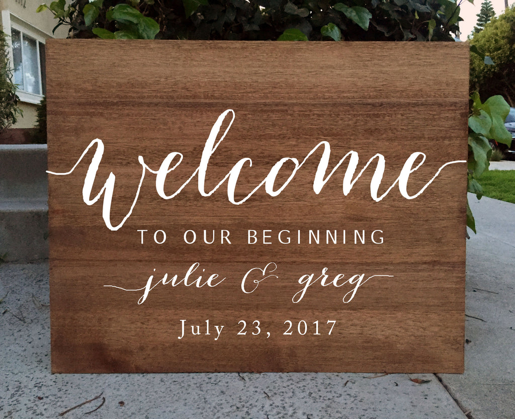 Rustic Wedding Sign - Welcome To Our Beginning Wedding Sign Wooden Board - Heart And Hand