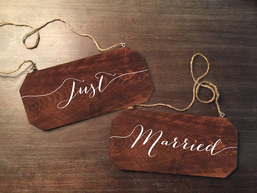 Wedding Chair Signs - Just Married Rustic Chair Signs - Heart And Hand
