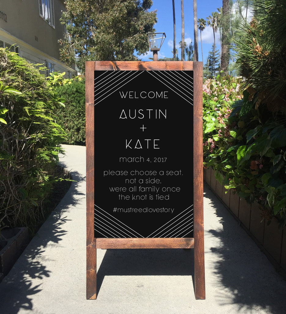 Welcome Wedding Sign - Geometric Wedding Rustic Chalkboard  Please Choose A Seat Not A Side Sandwich Board | Wedding Easel Chalkboard Sign - Heart And Hand
