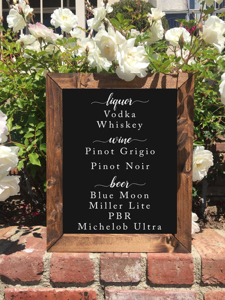 Wedding Bar Sign - Rustic Framed Chalkboard Wedding Alcohol Selection Sign - Heart And Hand