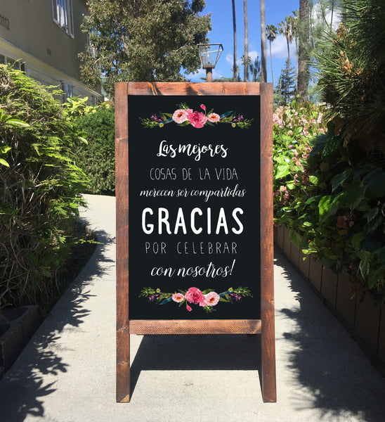 Wedding Chalkboard Sign Easel | Letrero Para Boda Bienvenidos A Nuestra Boda Wedding Sandwich Board | Rustic Wedding Decor