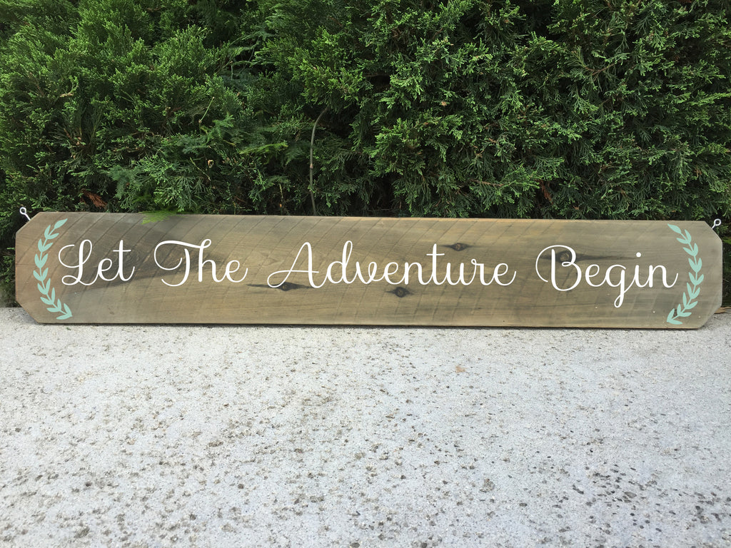 Wedding Aisle Sign Rustic Wedding Sign - Let The Adventure Begin Ceremony Aisle Rustic Wedding Sign - Heart And Hand