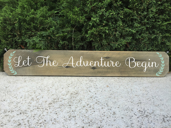 Wedding Aisle Sign Decor Rustic Wedding Sign - Let The Adventure Begin Ceremony Aisle Rustic Wedding Sign - Heart And Hand