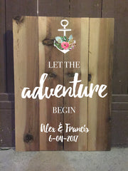Let The Adventure Begin Rustic Wedding Sign - Welcome Wedding Sign Wooden Board - Heart And Hand