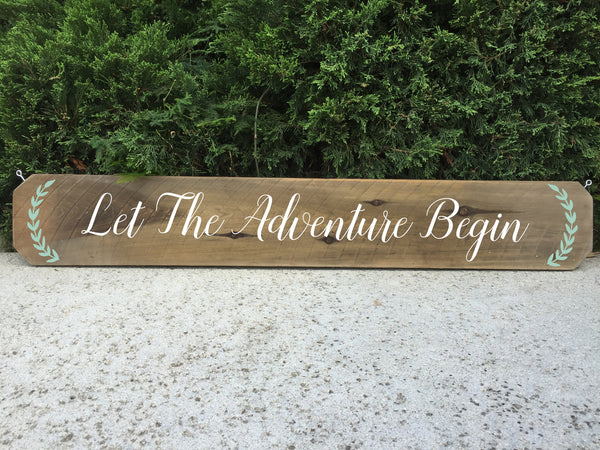 Wedding Aisle Sign Decor Rustic Wedding Sign - Let The Adventure Begin Ceremony Aisle Rustic Wedding Sign