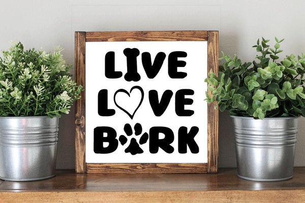 Live Love Bark - Dog Lover Framed Artwork Rustic Home Decor Wooden Sign - Heart And Hand