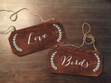 Wedding Chair Signs - Love Birds Rustic Chair Signs Wooden Chair Signs