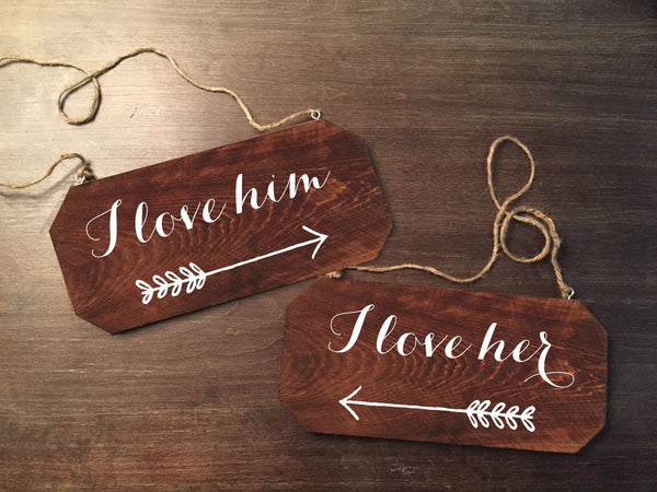Wedding Chair Signs - I Love Him I Love Her Rustic Chair Signs - Heart And Hand