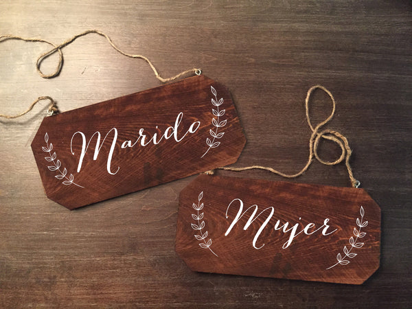 Wedding Chair Signs - Marido y Mujer Rustic Chair Signs - Heart And Hand