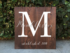 Family Monogram Crest Wooden Sign - Rustic Home Decor Family Crest - Heart And Hand