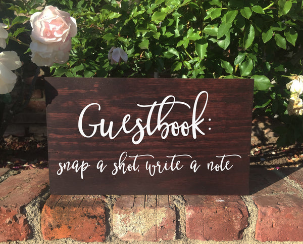 Polaroid Guestbook Rustic Wedding Sign Please Sign Our Guestbook Wooden Stand Alone Sign - Heart And Hand