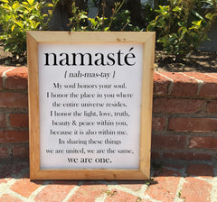Namaste Definition Sign - Framed Artwork Rustic Home Decor - Heart And Hand