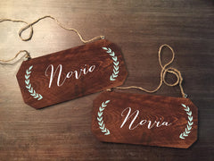 Wedding Chair Signs - Novio Novia Rustic Chair Signs - Heart And Hand
