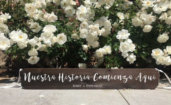 Wedding Aisle Sign Decor Rustic Wedding Sign - Nuestra Historia Comienza Aqui Letrero Para Bodas Ceremony Aisle Rustic Wedding Sign