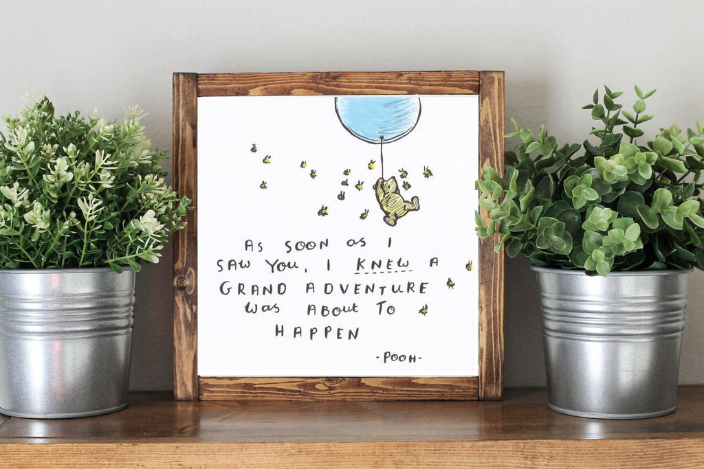 Winnie The Pooh Quote - Framed Artwork Rustic Home Decor Nursery Decor Wooden Sign - Heart And Hand