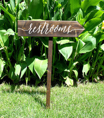 Wooden Wedding Restrooms Arrow - Directional Stake Sign Rustic Wedding - Heart And Hand