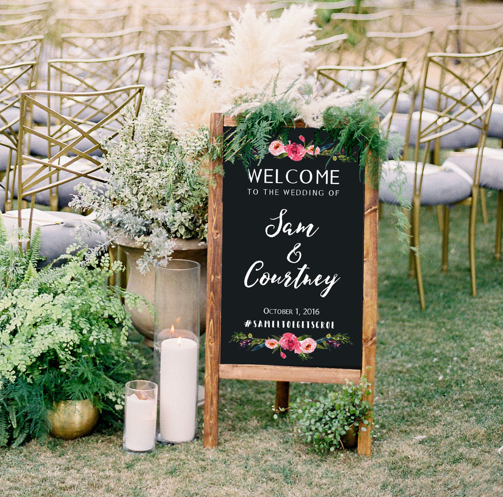 Welcome Wedding Sign - Rustic Wedding Chalkboard Sandwich Board | Wedding Easel Chalkboard Sign | Please Choose A Seat Not A Side - Heart And Hand