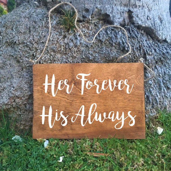 Ring Bearer Sign - Her Forever His Always Rustic Wedding Sign - Heart And Hand