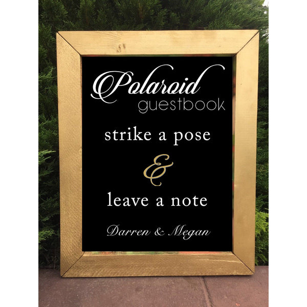 Polaroid Guestbook Sign - Sign Our Guestbook Rustic Wedding Framed Chalkboard Sign - Heart And Hand