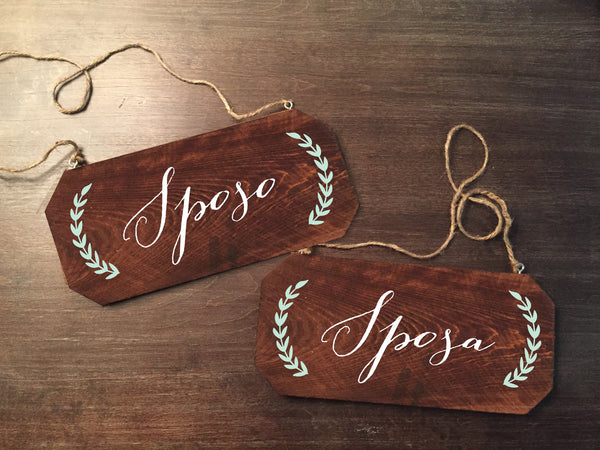 Wedding Chair Signs - Sposo Sposa Rustic Chair Signs Wooden Chair Signs