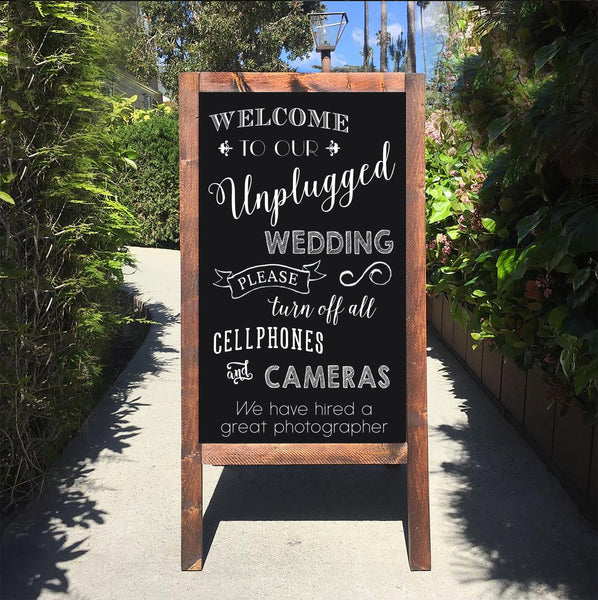 Unplugged Wedding Sign - Welcome To Our unplugged Ceremony Rustic Wedding Chalkboard Sandwich Board | Wedding Easel Sign - Heart And Hand