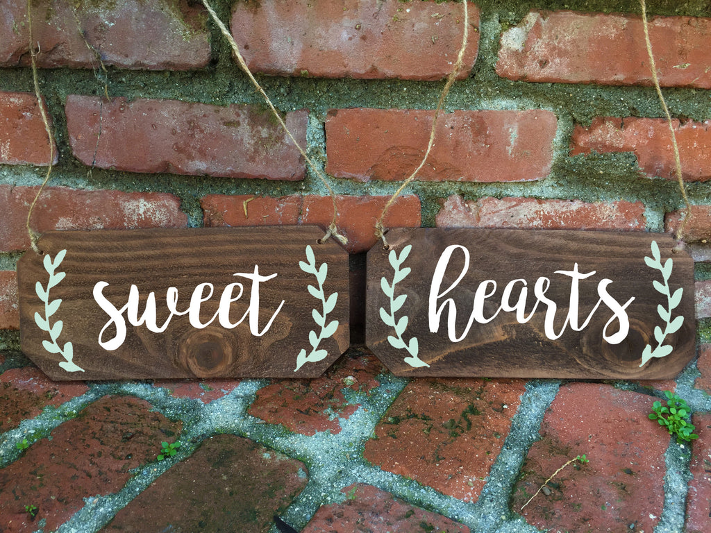 Wedding Chair Signs - Sweethearts Rustic Chair Signs - Heart And Hand