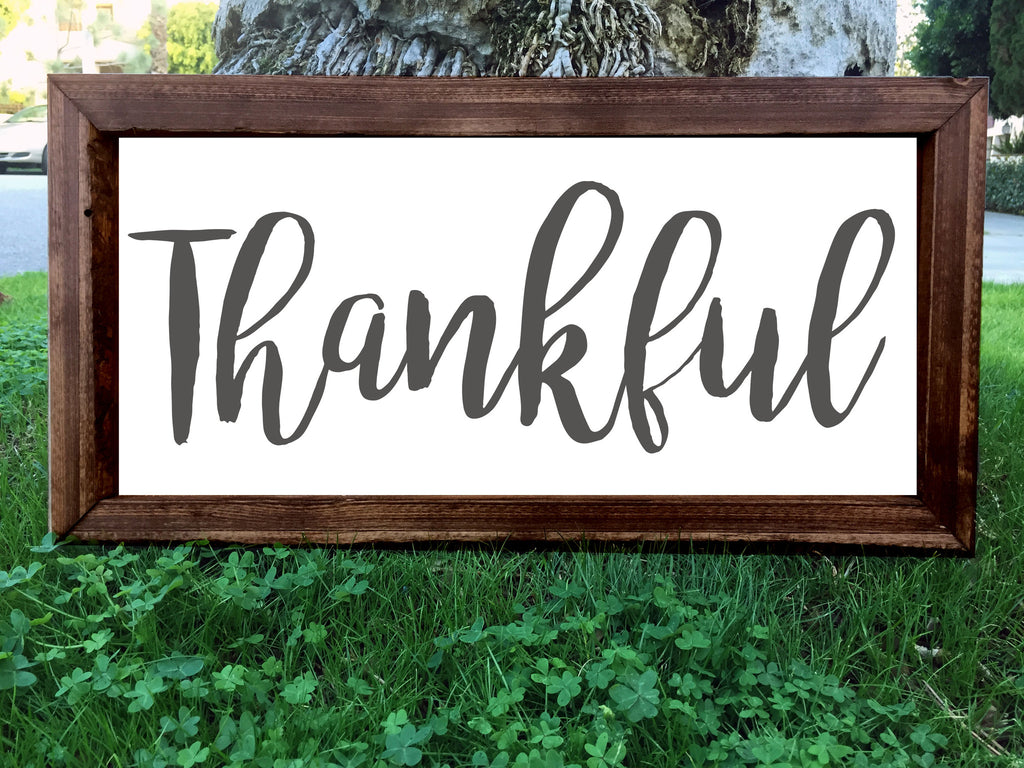 Thankful - Framed Artwork Rustic Home Decor Nursery Hand Painted Sign - Heart And Hand