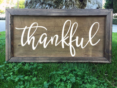 Thankful - Framed Artwork Rustic Wooden Home Decor Nursery Hand Painted Sign - Heart And Hand