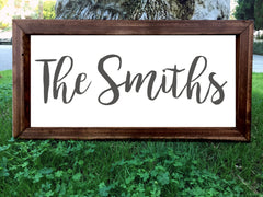 Personalized Family Name Sign - Framed Artwork Rustic Home Decor Hand Painted Sign - Heart And Hand