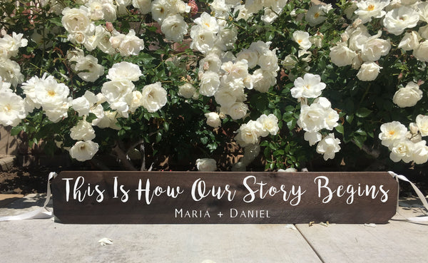 Wedding Aisle Sign Decor Rustic Wedding Sign - This Is How Our Story Begins Ceremony Aisle Rustic Wedding Sign
