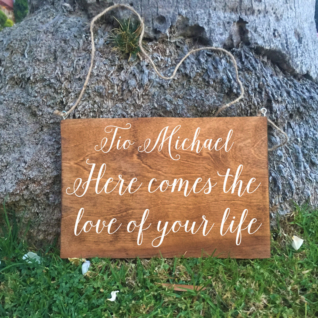 Ring Bearer Sign - Tio Here Comes The Love Of Your Life Rustic Wedding Sign - Heart And Hand