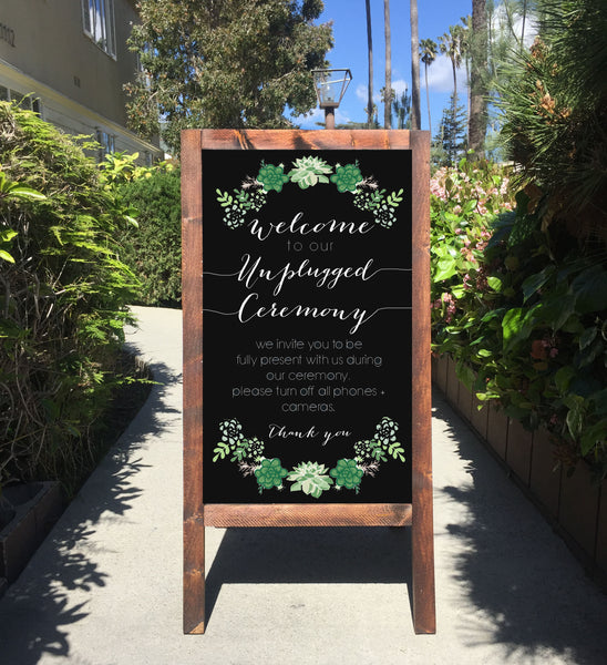 Unplugged Ceremony Wedding Sign Chalkboard - Welcome To Our Unplugged Ceremony Rustic Wedding Succulents Chalkboard Sandwich Board | Wedding Easel Sign - Heart And Hand