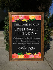 Unplugged Ceremony Wedding Sign - Rustic Wedding Framed Chalkboard | Wedding Easel Chalkboard Sign - Heart And Hand